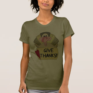 Give Thanks - Prim Cartoon Turkey Tees