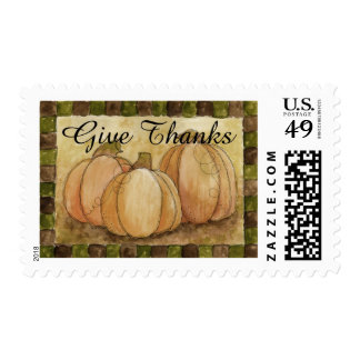 Give Thanks Pumpkins Postage Stamp