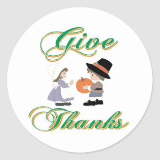 Give Thanks Round Stickers