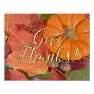 Give Thanks Script Typography Autumn Thanksgiving Poster