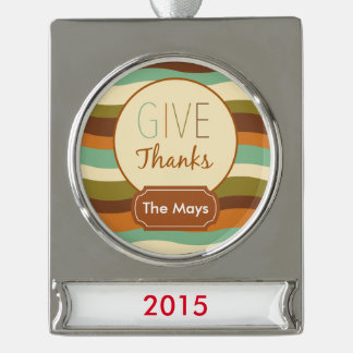 Give Thanks Silver Plated Banner Ornament