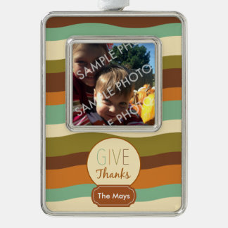 Give Thanks Silver Plated Framed Ornament