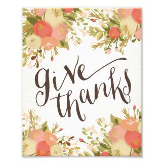 Give Thanks Thanksgiving Art Print Photograph