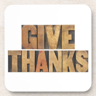 Give Thanks - Thanksgiving Concept - Isolated Beverage Coaster