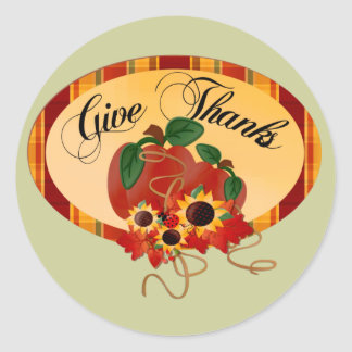 Give Thanks Thanksgiving Day Classic Round Sticker