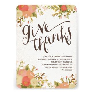 Give Thanks Thanksgiving Dinner Invitation