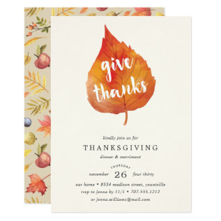 Give Thanks | Thanksgiving Dinner Invitation at Zazzle