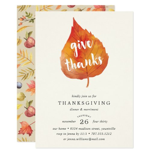 Give Thanks Thanksgiving Dinner Invitation