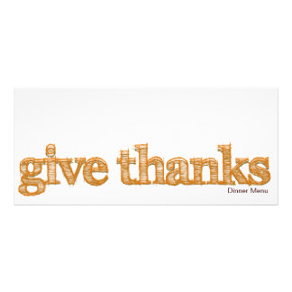 """Give Thanks"" Thanksgiving Dinner Menu Rack Card"