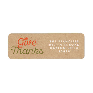 Give Thanks Thanksgiving Kraft Paper Address Label