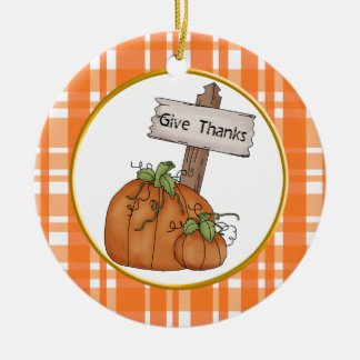 Give Thanks Thanksgiving Ornament