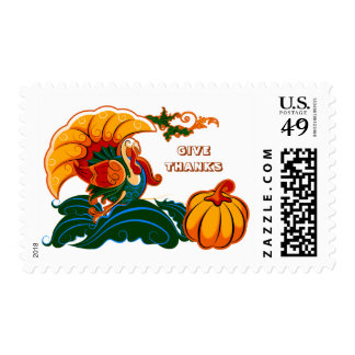 Give Thanks. Thanksgiving Postage Stamps.
