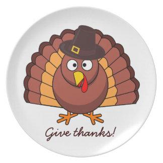 Wonderful Give Thanks Thanksgiving Turkey Melamine Plate