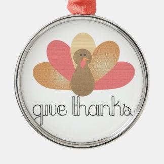 give thanks thanksgiving turkey metal ornament