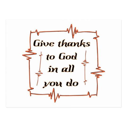 Give thanks to God Christian Postcard