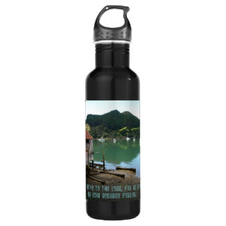Give Thanks to The Lord - Psalm 136:1 Stainless Steel Water Bottle