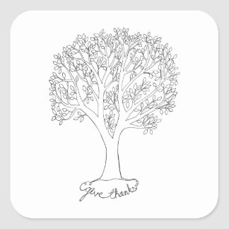Give Thanks Tree Square Sticker