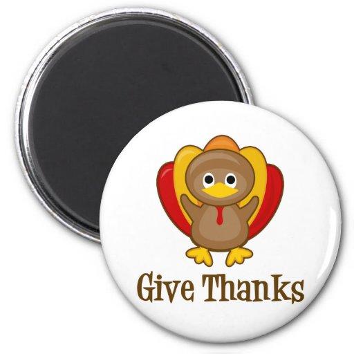 Give Thanks Turkey 2 Inch Round Magnet