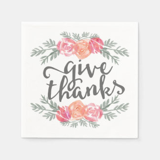 Give Thanks | Watercolor Floral Thanksgiving Napkin