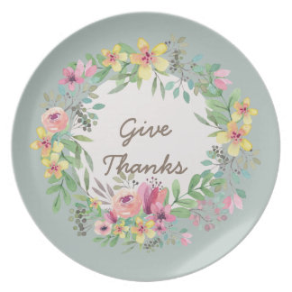 Give Thanks/ Watercolor Wreath Dinner Plate