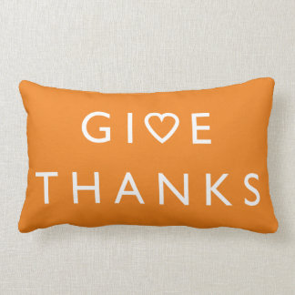Give thanks with your heart, Thanksgiving message Lumbar Pillow