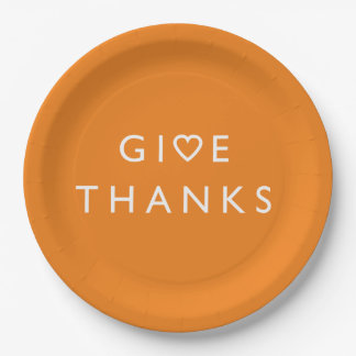 Give thanks with your heart, Thanksgiving message Paper Plate