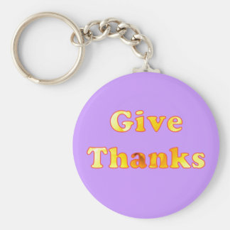 Give thanks, word art with yellow lily, keychains