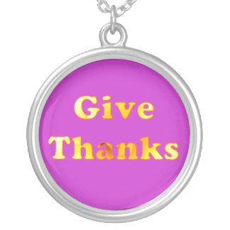 Give thanks, word art with yellow lily, necklace