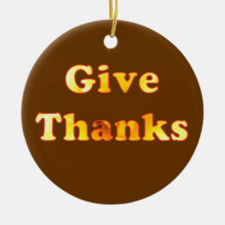 Give thanks, word art with yellow lily, ornaments