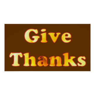 Give thanks, word art with yellow lily, posters