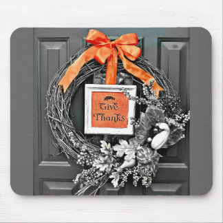 Give Thanks Wreath Mouse Pad