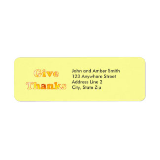 Give thanks, yellow lily word art, address labels