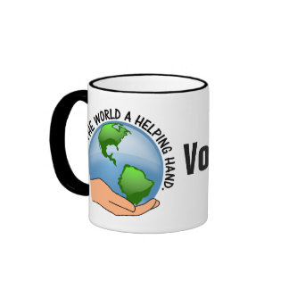 Give the world a helping hand and volunteer ringer coffee mug