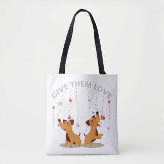 Give Them Love Illustration Tote Bag