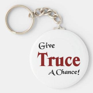 Give truce a chance keychain