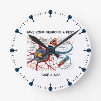 Give Your Neurons A Rest Take a Nap Neuron Synapse Round Clock