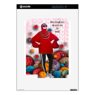 Given enough yarn she could rule the world sleeve decal for iPad 2