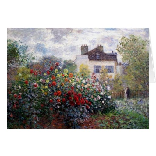 Giverny Garden with Dahlias by Claude Monet Greeting Card