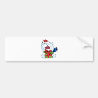 Giving Christmas Polar Bear Holding A Gift Bumper Sticker