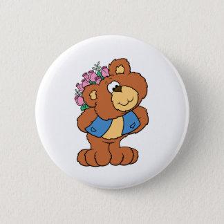 giving flowers valentine romance teddy bear pinback button