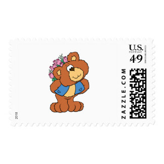 giving flowers valentine romance teddy bear postage