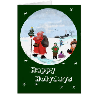 Giving in the snow… greeting map card