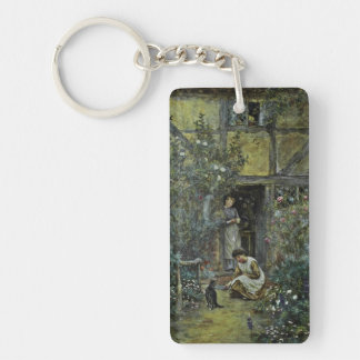 Giving Kitten a Saucer of Cream Rectangle Acrylic Key Chains