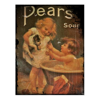 Giving Puppy a Bath from Pears Soap Postcard