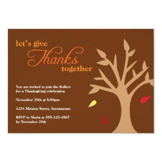 Giving thanks falling leaves tree Thanksgiving Custom Invites