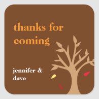 Giving thanks falling leaves tree Thanksgiving tag Square Stickers