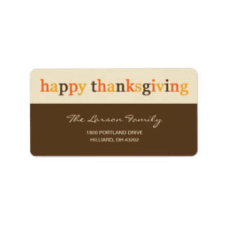 Giving Thanks Thanksgiving Address Label Personalized Address Labels
