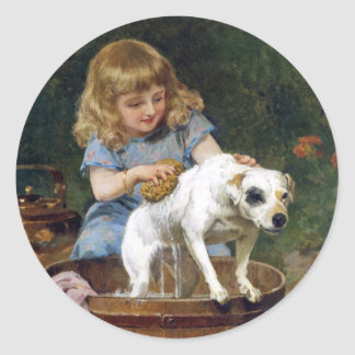 Giving the Dog a Bath - Dog Painting by de Schyver Classic Round Sticker