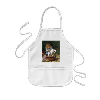 Giving the Dog a Bath - Dog Painting by de Schyver Kids' Apron