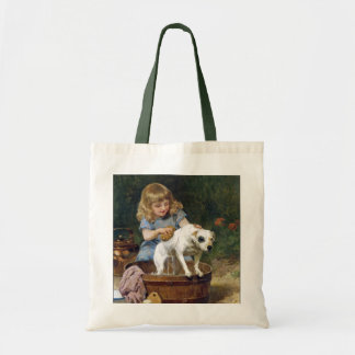 Giving the Dog a Bath - Dog Painting by de Schyver Tote Bag